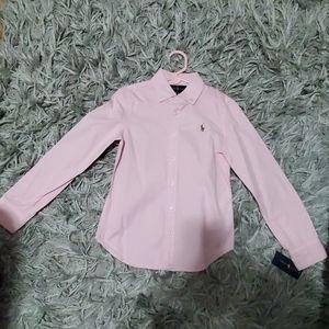 Ralph Lauren pink button up shirt